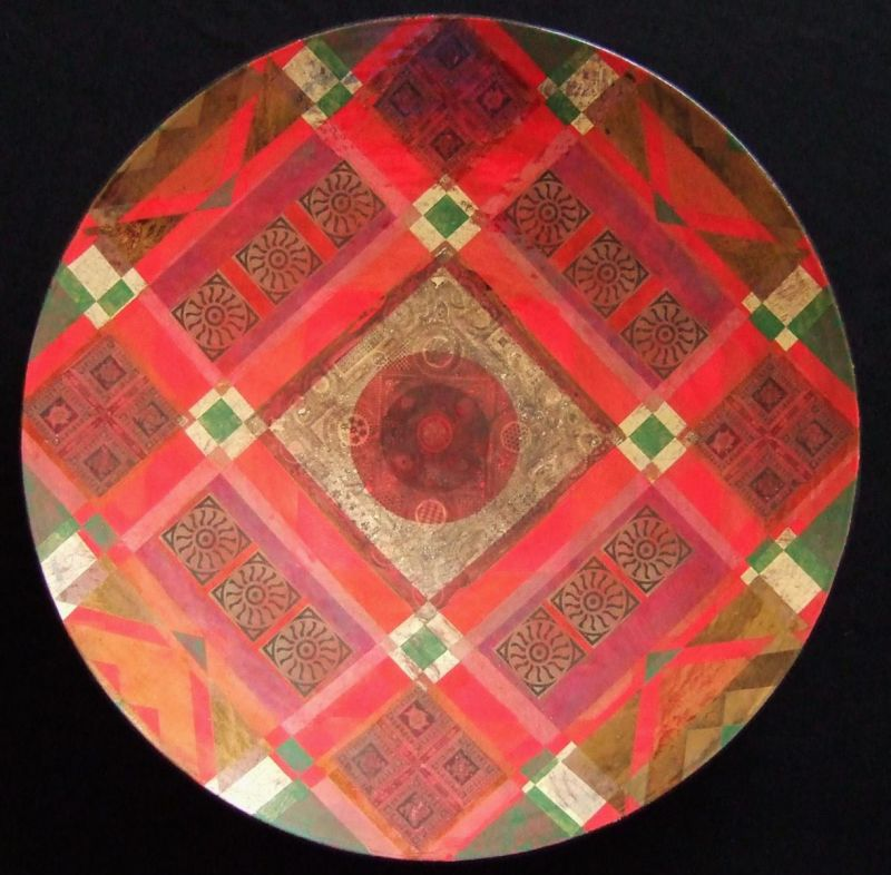 Large red glazed dish lustre decoration