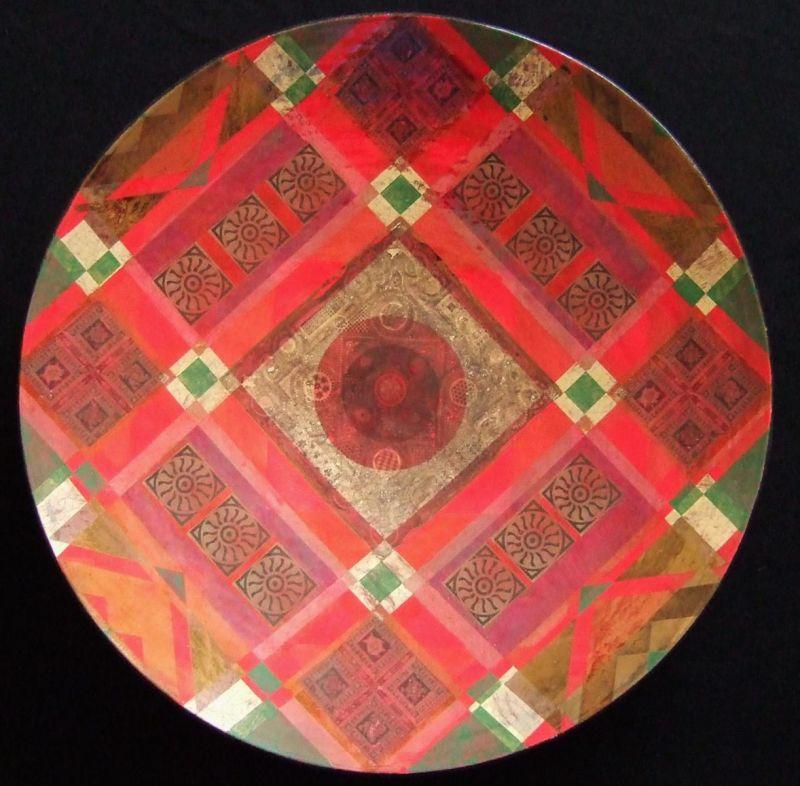 Large red glazed dish lustre decoration